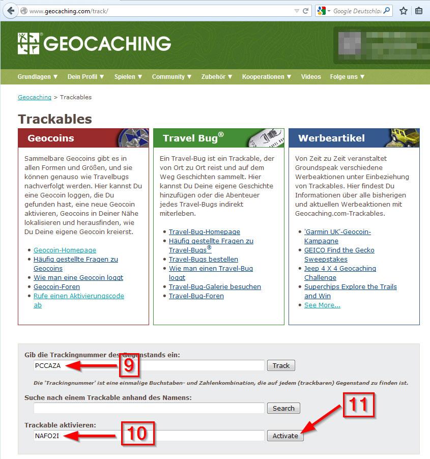 Trackable ohne Code aktivieren 5