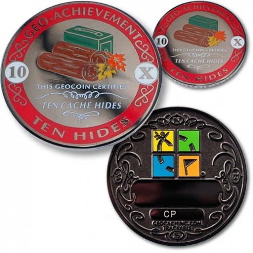 10 Hides - Geo Achievement Geocoin Set mit Pin