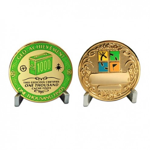 1000 Funde - Geo Achievement Geocoin Set mit Pin