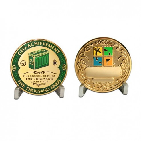 5000 Funde - Geo Achievement Geocoin Set mit Pin