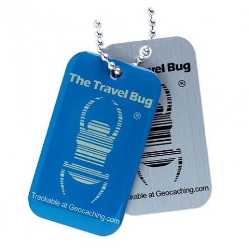QR Travel Bug Anhänger blau nachtleuchtend