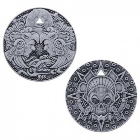 Aztec Pirate Antique Silver Geocoin