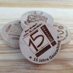 German Wood Geocoin Buche, Laser, ab 25 Stück