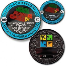 100 Hides - Geo Achievement Geocoin Set mit Pin