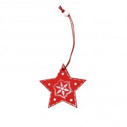Weihnachtsschmuck Stern rot & weiß aus Holz trackbar