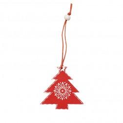 Weihnachtsschmuck Tannenbaum rot & weiß aus Holz trackbar