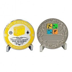 500 Funde - Geo Achievement Geocoin Set mit Pin