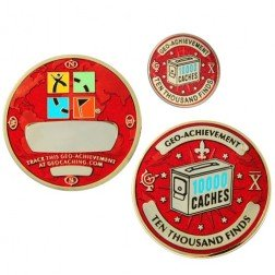 10000 Funde - Geo Achievement Geocoin Set mit Pin