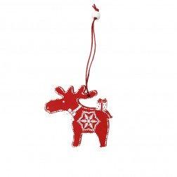 Weihnachtsschmuck Elch rot & weiß aus Holz trackbar