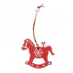 Weihnachtsschmuck Schaukelpferd rot & weiß aus Holz trackbar